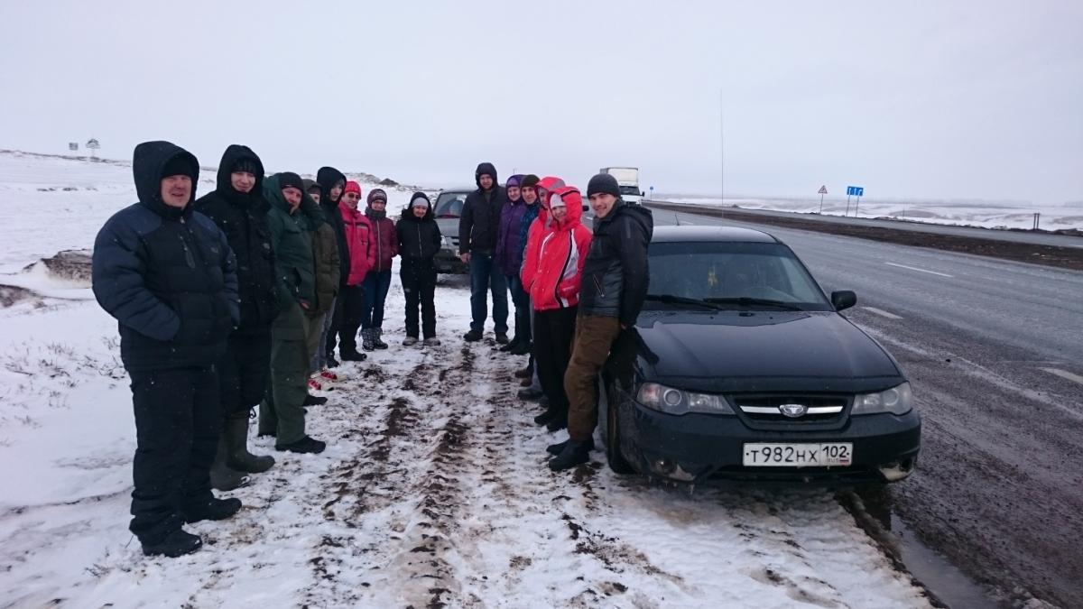 Место сбора всех участников поездки (трасса Уфа-Оренбург)