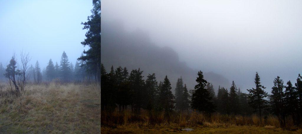 Откликной гребень в тумане и плато.