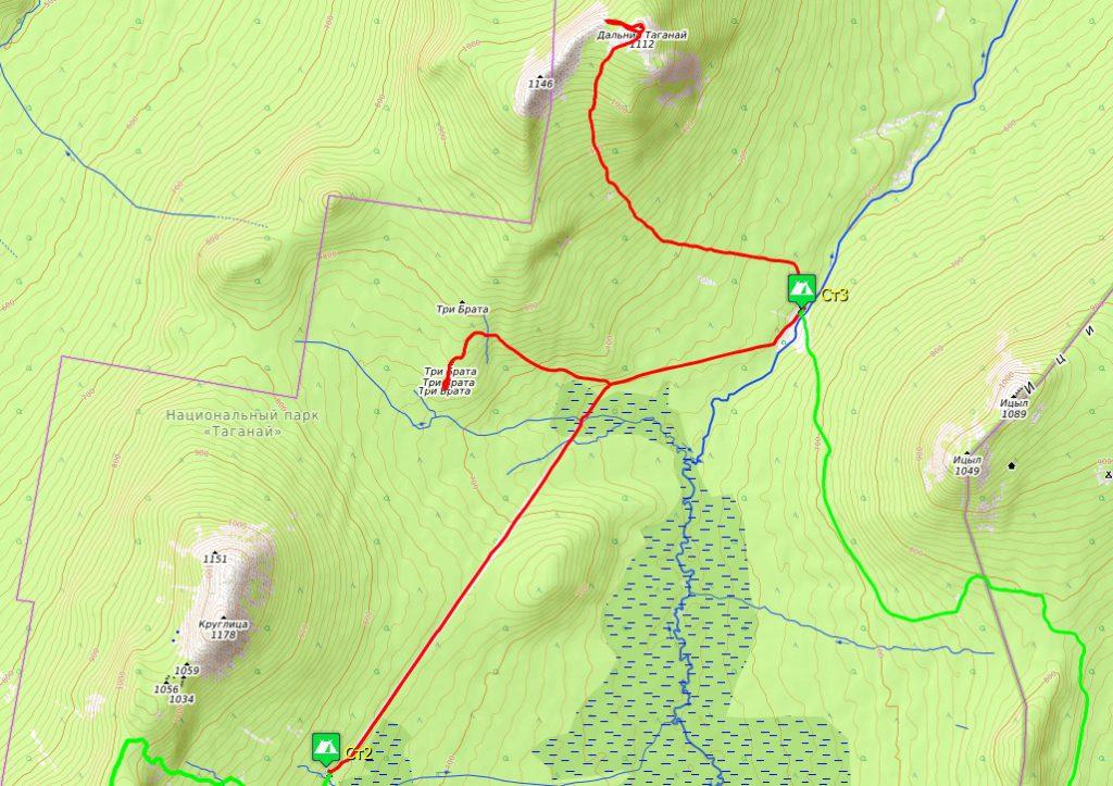 Схема маршрута 3-го дня. Приют Таганай – Киалимский кордон.