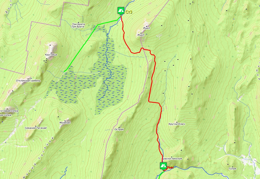 Схема маршрута 4-го дня. Киалимский кордон – г. Красноглинская.