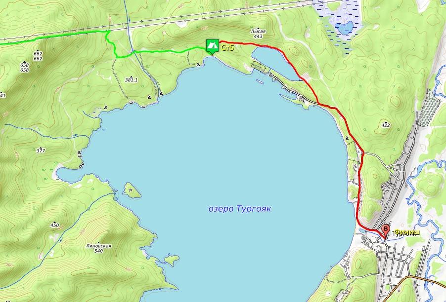 Схема маршрута 6-го дня, озеро Тургояк – п. Тургояк.